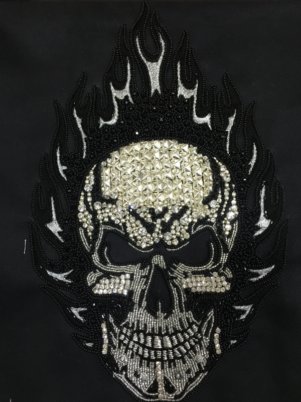 Flaming Skull Stone Work